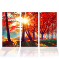 3 Pieces HD Pritned Red Maple Tree Canvas Painting Charming Autumn Forest Landscape Canvas Wall Art for Living Room/SJMT1945