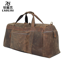Decent Vintage crazy horse leather duffel bag tote travel luggage for business trip or tour