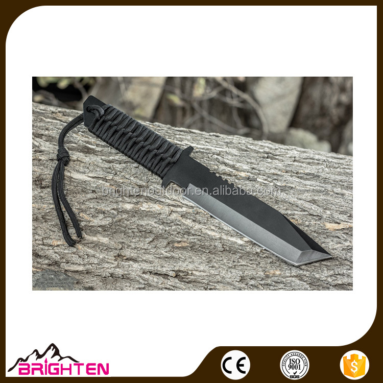 Fixed Blade survival tactical Hunting Knife with Paracord Wrapped Handle