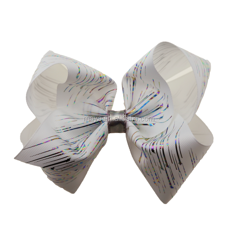 New style jojo bow 8inch ribbon printing colorful pattern hair bows with alligator clip girls hair accessories