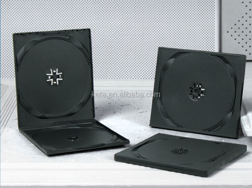 Standard 10mm Square Double Disc DVD Plastic Black PP CD VCD Case
