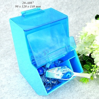 Double deck with hinge lid and scoop 100% food grade clear plastic candy bin wholesale
