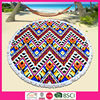 2016 fashion cotton velour printed round beach throw towel with colored tassel