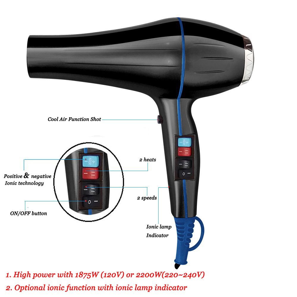 FMK Brand 2200W Powerful AC Motor Professional Salon Use Hooded Hair Dryer with Positive and negative Ionic Technology