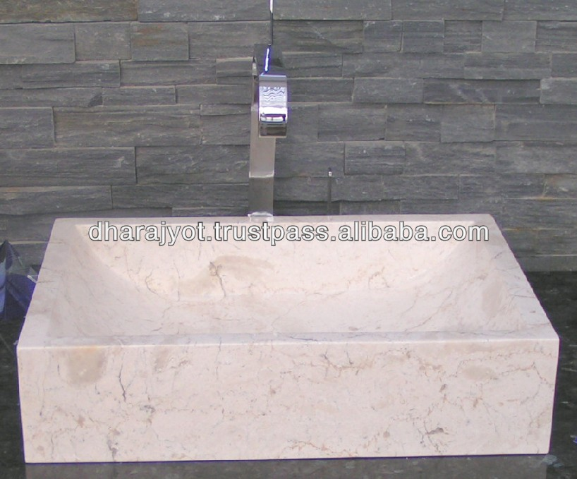 white rectangle marble bathroom hand wash basin and sinks