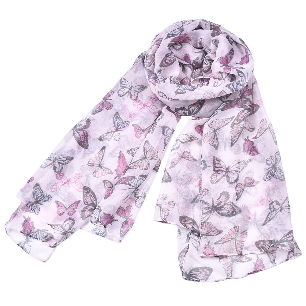 NB-757 Fashion 180*90cm Polyester Butterfly Animal Design Style Lady Scarf