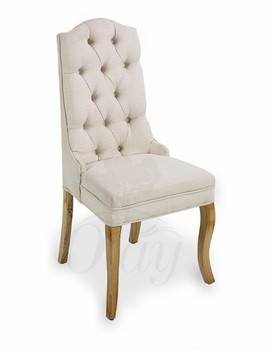 French dining room chairs button high back chair comfortable linen fabric for furniture hot selling