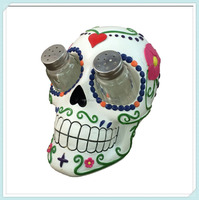 Hand Painted Colorful Skull Salt and Pepper Shaker Set