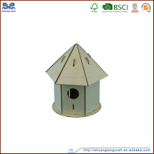 Factory supply handmade home decor wood craft bird houses from china
