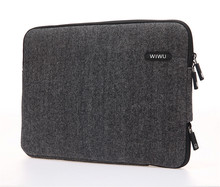 London Classic Sleeve Woolen Fabric Coated Neoprene with Faux Fur Lining Special Charging Port Sleeves Bags for Macbook