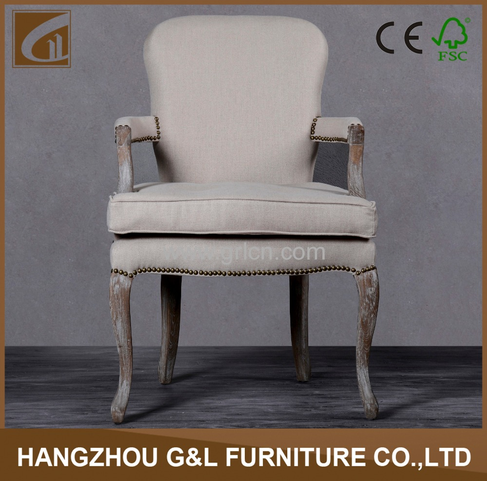 Europe style solid oak wood frame nailhead design vintage armrest dining chair/living room chair with upholstery seat cushion