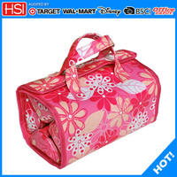 new products pvc flower printing travel cosmetic rolling case bag