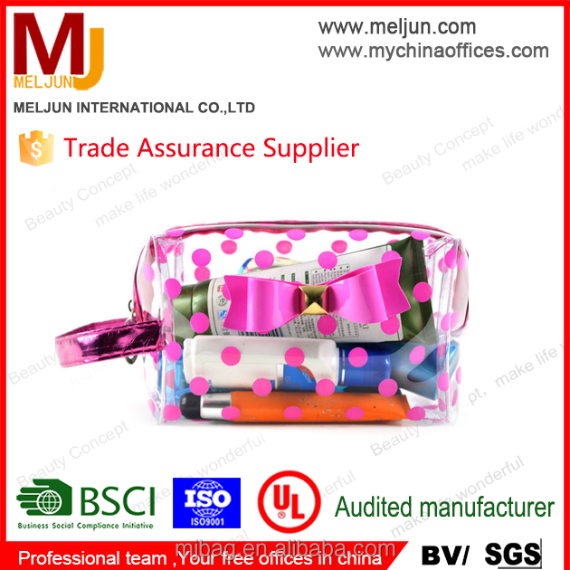 Wholesale cheap cute dots printing pink clear PVC cosmetic bag