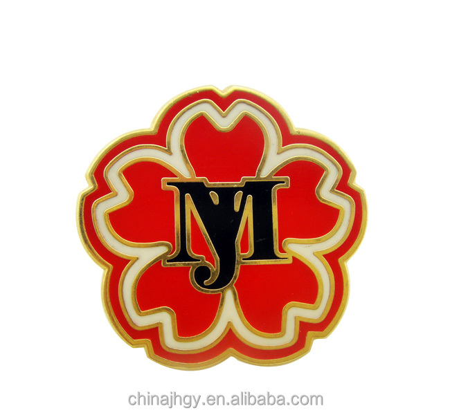 Custom metal MJ flower enamel pin badge making