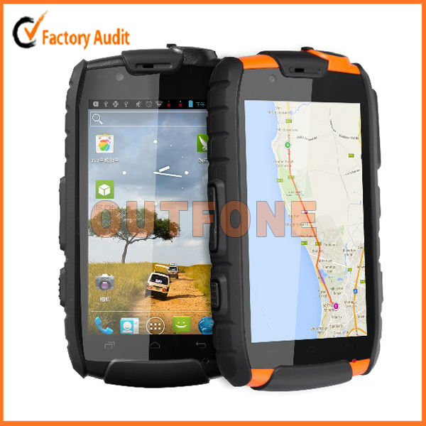 Quad core MTK6589 android 4.2 4 inch China 3G WCDMA tough rugged smart phone with NFC and walkie talkie