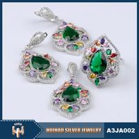 Latest engagement jewellery sets beautiful gemstone ladies 925 silver fashion heavy jewelry set