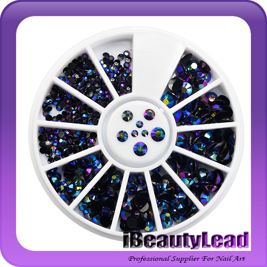 1 Wheel Colorful Flame 3d Shiny Nail Art Rhinestones Resin Mixed Size Jelly Gems Manicure Nail Decoration DIY Accessories