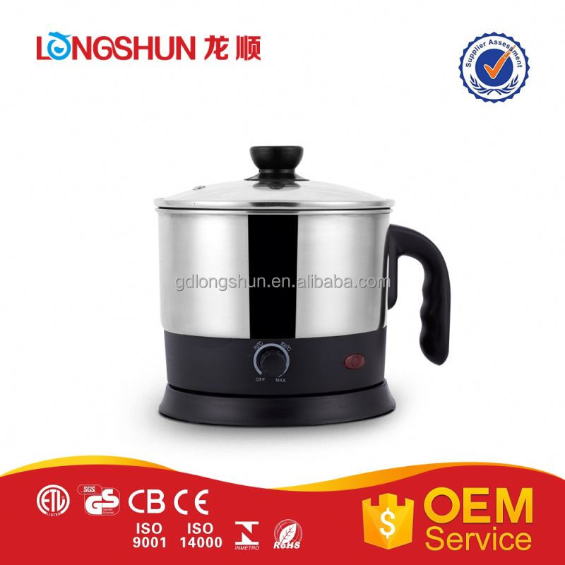 Certification 1.5l capacity school cooking pot electric caldron
