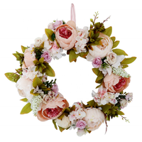 Artificial flower wreath front door decoration peony flower wreath