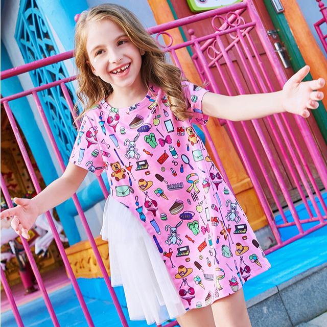 Summer fashion comfortable girls' irregular stitching dress