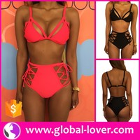 mature women hot sexy open bikini photo ladies high waist swimwear