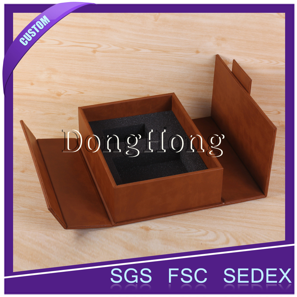 Excellent Designs Fuax Folding Leather Wine Carrier Packaging Boxes With Handle DH4021#