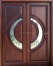 Exterior solid wood front door with glass side-lite and transom