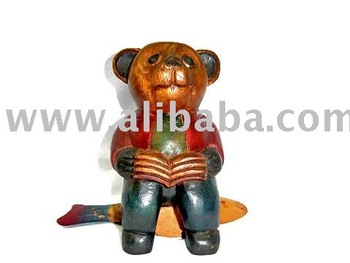 Wooden Bear Animal Sculpture Wood Carving Thailand High Quality Handmade Antique Woodcraft