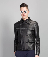 Men's Fashion Black Genuine Cow Leather Jacket