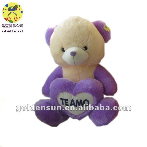 vivid purple plush bear toys with heart
