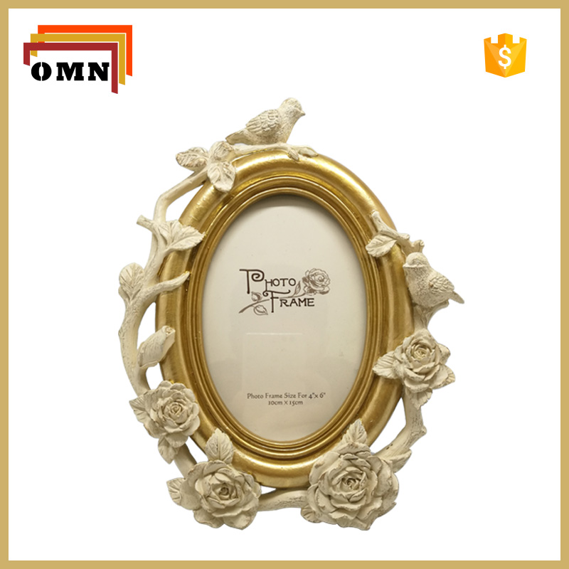 Antique Bird Polyresin Photo Frame For Home Decoration 4''x6''