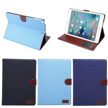 2017 Wholesale Top Quality Newest Cowboy Leather Flip Cover for iPad air2, for iPad air case
