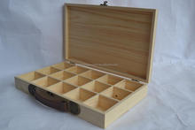 Finished Gift Wood Tea Bag Organizer Box 15 Compartment essential oil box with Lid