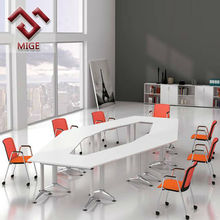 Hexagon White Wood Office Folding Table