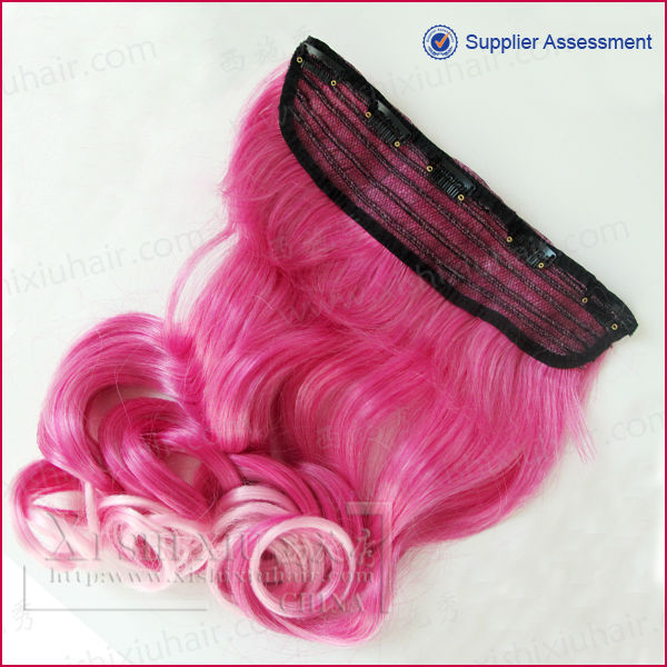Factory bottom price synthetic hair clip in streaks
