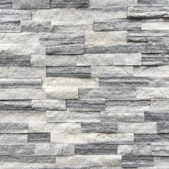 Black And White Mica Schist 3D effect decorative wall cladding stone paving panel WP-DH610