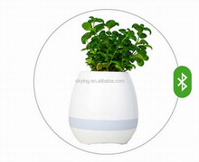 Music Flower Pot Smart Wireless Vase Speaker Music Plant Pot Speaker Flower Pot White