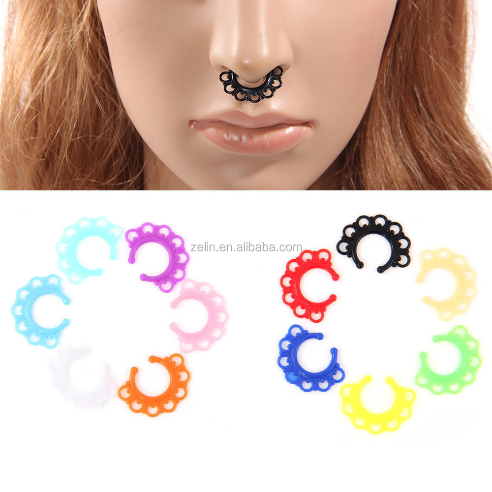 Fake Clip On Non-Piercing Acrylic Septum Nose Ring Faux Clicker Body Jewelry