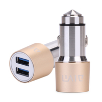 Stainless steel 2 USB Port car usb charger mount with function of safety hammer