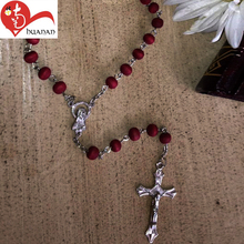 Catholic prayer rosary small red olive wooden cross round bead necklace