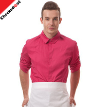 Hot sale custom staff colorful clothes long sleeve waiter shirt , cooking cafe bar kitchen restaurant waiter uniform