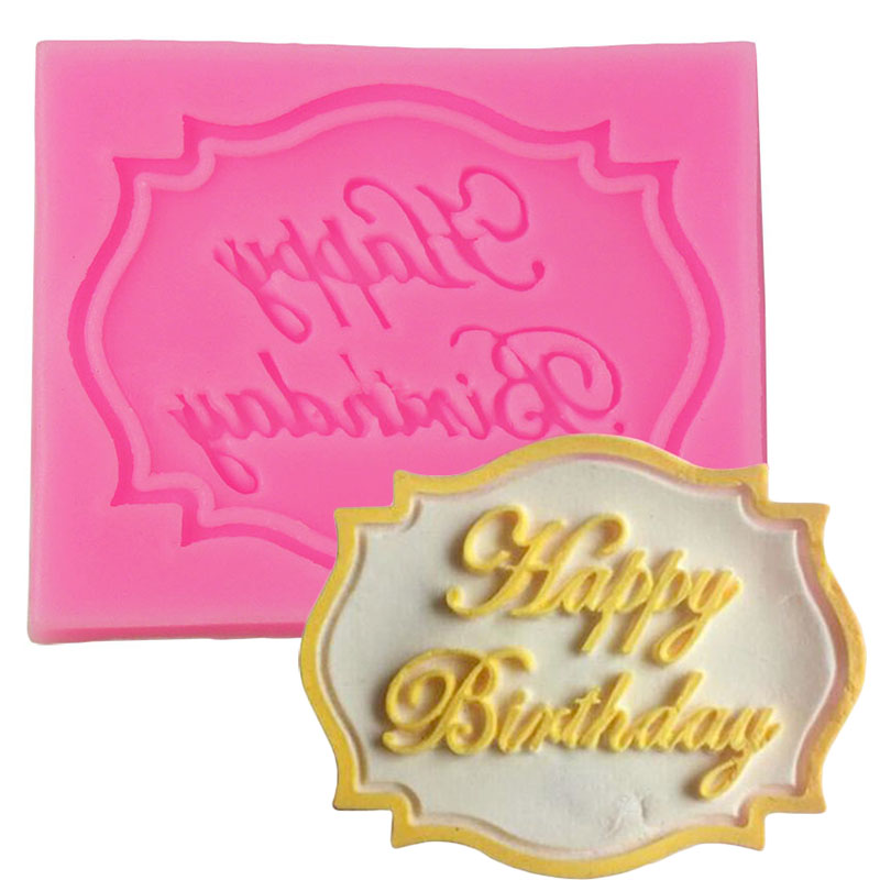DIY Cake Tool Decoration Silicone Happy Birthday Fondant Mold