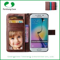 New cellphone cover with card slots money slots wallet flip leather cases and covers for Samsung Galaxy S6 edge