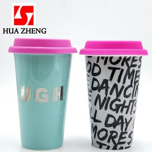 Double Wall Porcelain Ceramic Take Away Travel Mug Coffee Cups With Silicone Lid