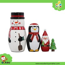 Alibaba wooden craft supplies santa nesting dolls cartoon baby doll