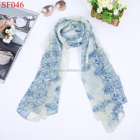 SF046 light blue shinny Classical autumn scarves for ladies women scarves scarf for dubai