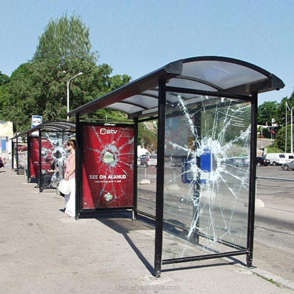 Modern Energy- Saving Solar Power Bus Stop Shelter With Light Box