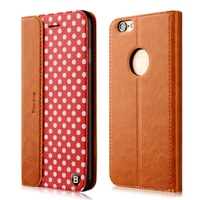 Baseus Collocation Series Genuine Leather and PU Leather Wallet Flip Protective Case for iPhone 6