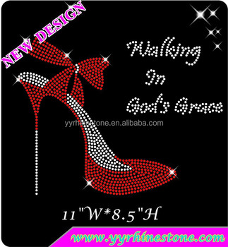Walking in God's Grace Hotfix Motif High Heels Rhinestone Transfer
