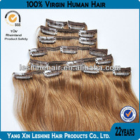 2014 most popular 8A 7A 6A high quality double drawn free shedding no tangle virgin indian remy hair clips in bangs
